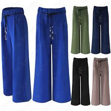 LADIES WIDE LEG PALAZZO LOOK TROUSERS WOMENS FLARED ROPE BELT LONG SUMMER PANTS
