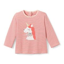 La Redoute Collections Girl Striped Unicorn Print Tshirt, 1 Mth3 Yrs