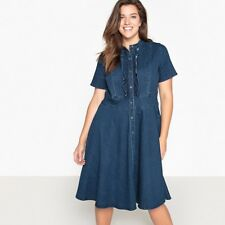 Castaluna Womens Denim Skater Dress With Ruffled Front