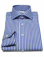 BARBA camicia blu a righe con collo a pinna di squalo
