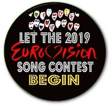 """LARGE LISBON 2018 EUROVISION SONG CONTEST PARTY BADGE~ 55 MM/ 2.2"""""""