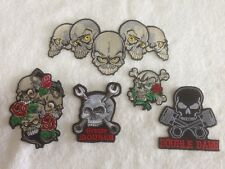 Skulls -  Biker Patches / Badges - Embroidered - Sew On Breast - Various Options