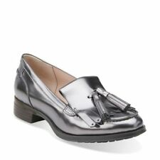 CLARKS LADIES BUSBY FOLLY DARK PEWTER METALLIC LEATHER SHOES / LOAFERS  VARIOUS