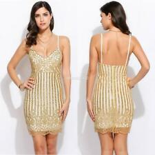 Donne sexy Spaghetti Strap paillettes V collo Bodycon Party Club Dress SA88
