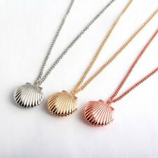 Silver Rose Gold MELODY SEASHELL LOCKET Little Mermaid Pendant Necklace Gift Box