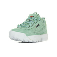 Chaussures Baskets Fila femme Disruptor Low taille Turquoise Cuir Lacets