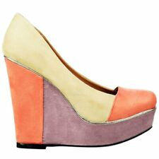 Ladies Dolcis Multi Coloured Summer Wedge Platform Metallic Nude Coral Lilac