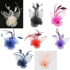 FIORE PIUMA MINI TOP HAT DONNA Fascinator Fermaglio per capelli Ascot REALE