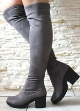 New Womens Grey Suede Over The Knee Block Low Heel Stretch Leg Thigh High Boots