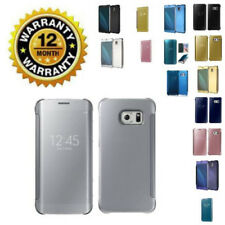 Verizon Samsung Galaxy Note 4/5 Mirror Flip Case Clear Smart View Leather Cover