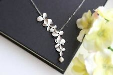 Orchid Flower with Simulated Pearl Necklace Pendant Charm Long Chain Collars Nec