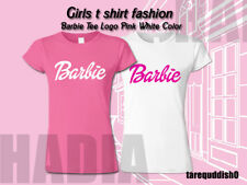 Girls t shirt fashion Barbie Tee Logo Pink White Color