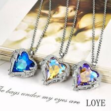 New ANGEL WINGS PENDANT NECKLACE Heart Love Crystal Jewelry