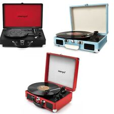New Intempo Retro Turntable Portable Suitcase Vinyl Record Player with Bluetooth