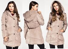 NEW LADIES GIRLS NUDE QUILTED COAT HOODED JACKET PARKA SIZE 10 , 12 , 14