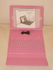 SLIM LINED LEATHER CASE FOR IPAD AIR BUILT IN BLUETOOTH KEYBOARD USB PINK BLACK.
