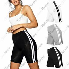 New Womens Double Side Stripe Cotton Active Gym Cycling Shorts Tights Hot Pants