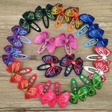 Girls kids Baby bow hair clips sides snaps children Ribbon hair accessories