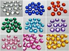100 Flatback Acrylic Sewing Rhinestone Round Sew on beads 14mm Color for Choice