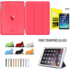 Smart Stand Magnetic New Leather Case Cover For APPLE iPad+Temperd Glass Free