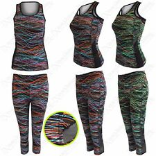 NUOVO donna a righe stampa Workout Abito Fitness Palestra Sport Mesh Canotta