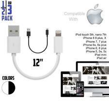 """12"""" 1FT Short USB cable for iPhone 5S,SE,6,6S Plus,7,8,X,XR,XS,XS MAX,11,11 Pro"""