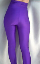 MADAME FANTASY HIGH WAISTED PURPLE OPAQUE SPANDEX FOOTED LEGGINGS XS-XXXL Tall