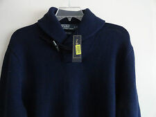 NWT POLO RALPH LAUREN MEN'S SHAWL NECK SWEATER TOGGLE BUTTON COTTON NAVY $145+