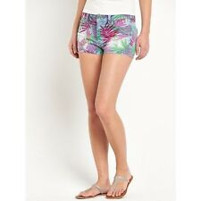 Women's tropical print short denim shorts in size 8 10 and 12 new