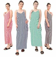 Ladies Women Stripe Strappy Maxi Dress Summer Sleeveless Oversize Dress UK 8-26