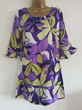 NEW Ex Wall*s 8-18 Fluted Sleeve Purple White Floral Print Tunic Shift Dress Top