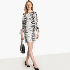 La Redoute Collections Womens Leopard Print Dress With Tie Cuffs