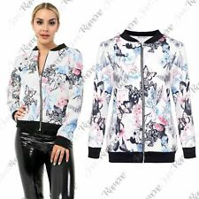 New Womens Floral Butterfly Printed Long Sleeve Zipper Party Bomber Jacket Top