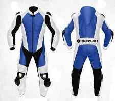 Suzuki Bluish Motorbike Racing Leather Suit Racing Motorcycle Cowhide Suit
