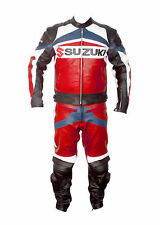 Suzuki Red Motorbike Racing Leather Suit Racing Motorcycle Cowhide Suit