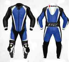 Suzuki Blue Motorbike Racing Leather Suit Racing Motorcycle Cowhide Suit