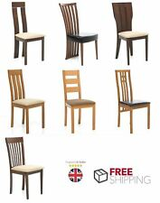 6x Dining Chairs Solid Wood Leather Foamed Seat Walnut Oak Kitchen Chair