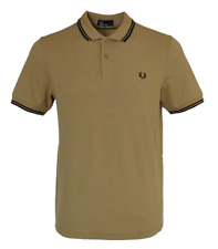 Fred Perry Polo T- Shirt - M3600 - 160 - Khaki / Mustard - Twin Tipped