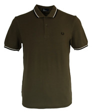 Fred Perry Polo T- Shirt - M3600 - 128 - Khaki / Iris Leaf - Twin Tipped