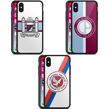 CRYSTAL PALACE FC 2016/17 RETRO BADGE BLACK HYBRID GLASS CASE FOR iPHONE PHONES