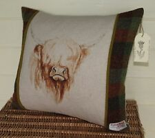 HIGHLAND COW HARRIS TWEED Country UNIQUE Cushion or Cover Only