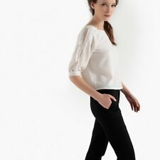 Mademoiselle R Womens Dotted Detail Blouse With Back Button Fastening