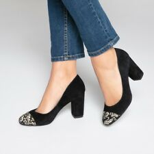 Mademoiselle R Womens Leather Heels With Embroidered Toe