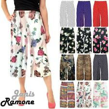 New Womens Floral Printed Wide Leg Culottes 3/4 Length Trousers Palazzo Pants