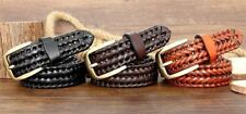 Fashion Genuine Leather Men Belt Hand Knitted Brass Pin Buckle Casual Style