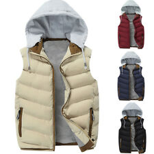 Casual Mens Hoodies Cotton Padded Vest Winter Puffer Waistcoat Sleeveless Jacket