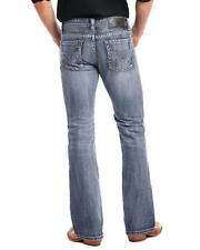 Rock and Roll Cowboy Men's Pistol Large Double V Embroidered Boot Cut Jeans Blue