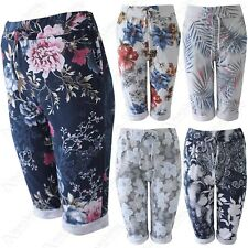 LADIES FLORAL PRINT COTTON KNEE LENGTH SHORTS WOMENS FRONT DRAWSTRING TROUSERS