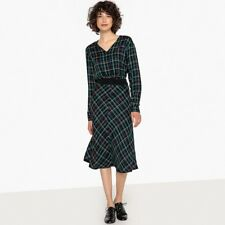 La Redoute Collections Womens Checked Cinched Waist Midi Dress