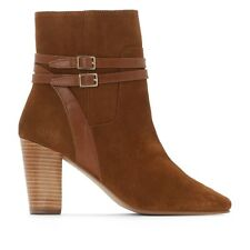 La Redoute Collections Womens Highheeled Leather Ankle Boots